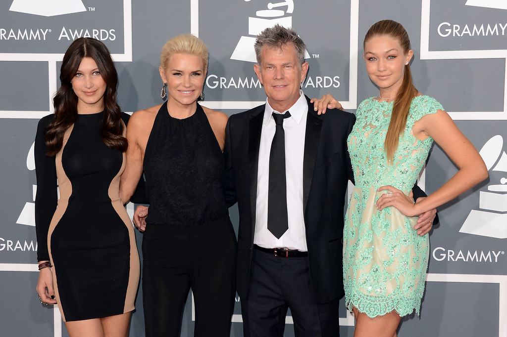 . LOS ANGELES, CA - FEBRUARY 10:  Producer David Foster (2nd from right) and Yolanda Foster (2nd from lef) and guests arrive at the 55th Annual GRAMMY Awards at Staples Center on February 10, 2013 in Los Angeles, California.  (Photo by Jason Merritt/Getty Images)