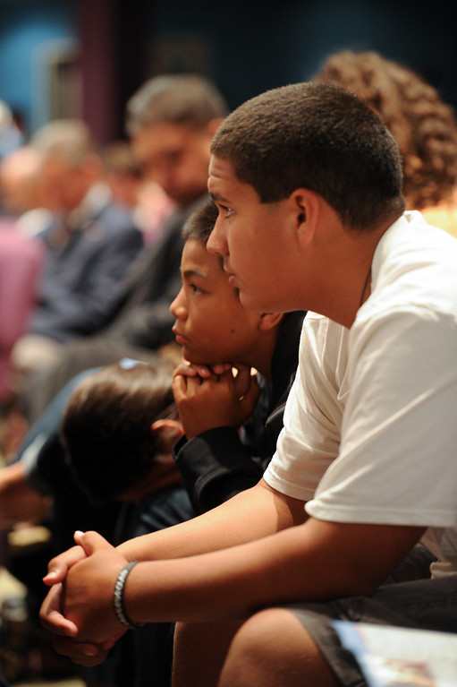 . Children attend a prayer vigil at West Valley Christian School, Thursday, July 11, 2013, in honor of the crash victims of Asiana Flight 214 airliner that crashed at San Francisco Airport. (Michael Owen Baker/L.A. Daily News)