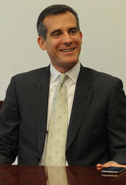 . Los Angeles Mayor Eric Garcetti meets with the Daily News editorial board in Woodland Hills, CA. 8/9/2013(John McCoy/LA Daily News)