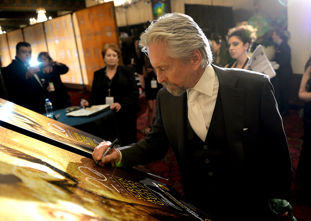 . Michael Douglas backstage at the 20th Annual Screen Actors Guild Awards  at the Shrine Auditorium in Los Angeles, California on Saturday January 18, 2014 (Photo by Michael Owen Baker / Los Angeles Daily News)