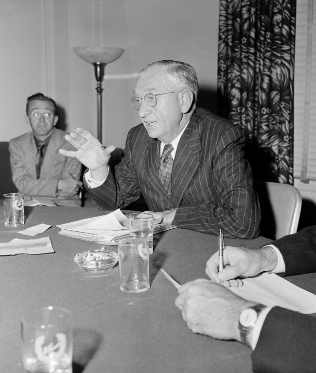 . 1958 Rose Parade grand marshal, Dr. Robert Gordon Sproul   (AP Photo/Clarence Hamm)