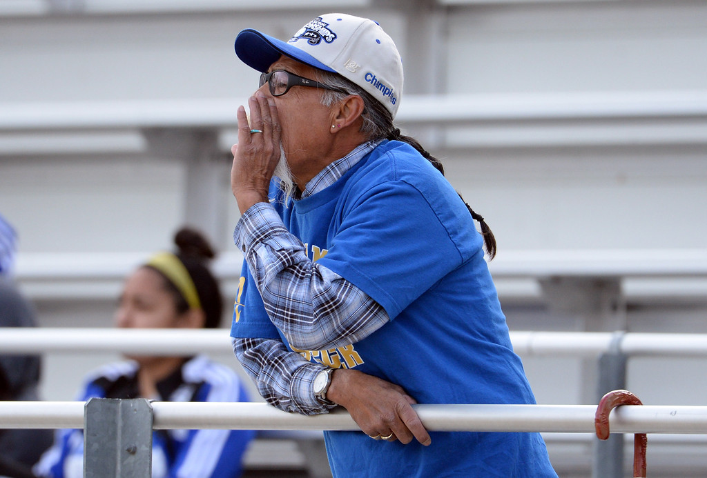 . A Bishop Amat fan yells at the officials in the second half of a CIF-SS second round prep playoff soccer match against Diamond Bar at Diamond Bar High School in Diamond Bar, Calif., on Wednesday, Feb.26, 2014. Diamond Bar won 3-2.