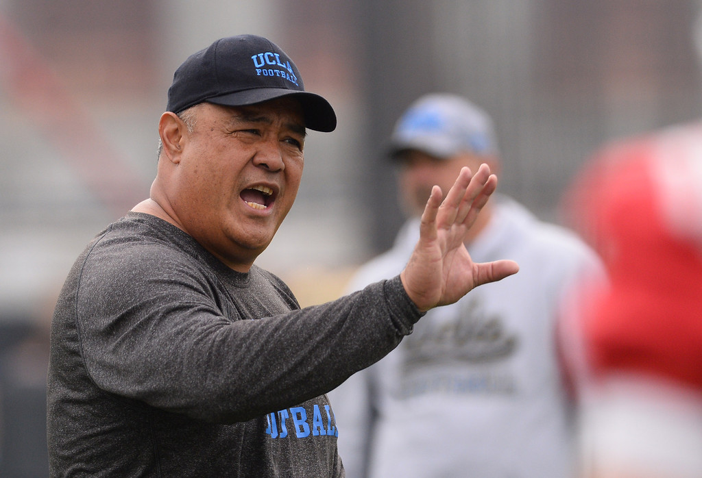 . UCLA football spring practice at Spaulding Field.  RB Coach Kennedy Polamalu. (Apr.16, 2014 Photo by Brad Graverson/The Daily Breeze)