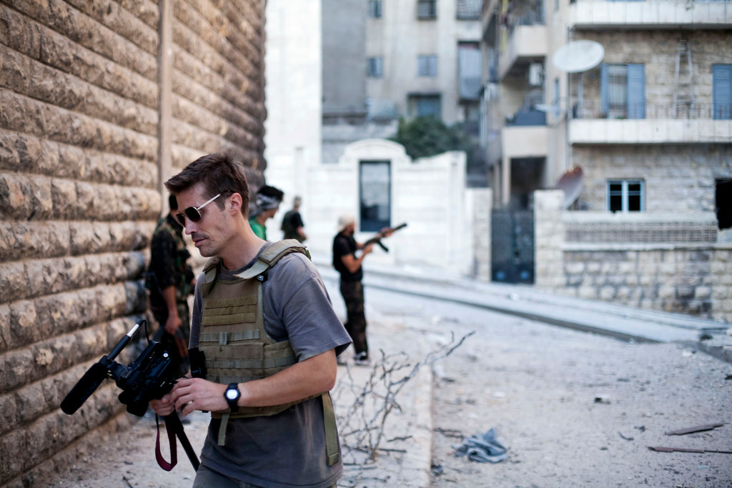 . This September 2012 file photo posted on the website freejamesfoley.org shows journalist James Foley in Aleppo, Syria.In a horrifying act of revenge for U.S. airstrikes in northern Iraq, militants with the Islamic State extremist group have beheaded Foley � and are threatening to kill another hostage, U.S. officials say. (AP Photo/freejamesfoley.org, Manu Brabo, File) NO SALES