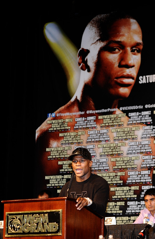 . Floyd Mayweather talk during the last press conference on his upcoming fight with Victor Ortiz for the WBC welterweight title this Saturday at the MGM grand hotel in Las Vegas.  Sept 14,2011. Photo by Gene Blevins/LA Daily News