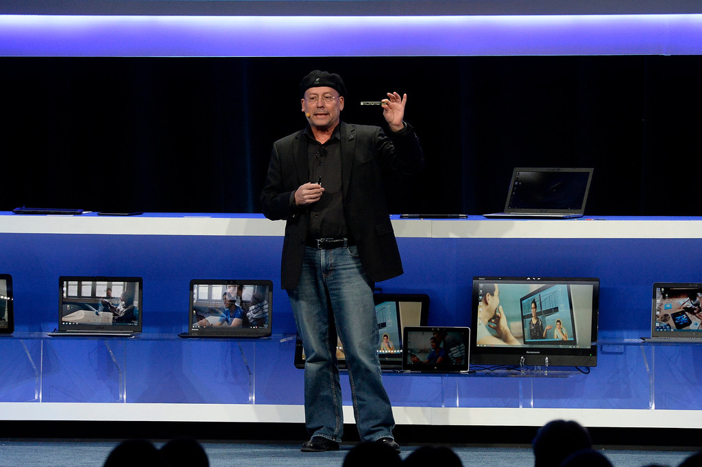 . Jan 6,2014.  Las Vegas NV. USA.  Intel senior vice president Mooly Eden talks during the Intel keynote at the 2014 CES media day show Monday. The 2014 CES show starts this Tuesday and runs till Friday with a estimated crowd of 150,000 to attend the show.. Photo by Gene Blevins/LA Dailynews
