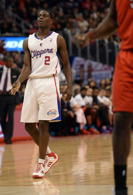 . The Clippers� Darren Collison #2 reacts after hitting  a 3-point shot during their game against the Raptors at the Staples Center in Los Angeles Friday, February 7, 2014. (Photo by Hans Gutknecht/Los Angeles Daily News)