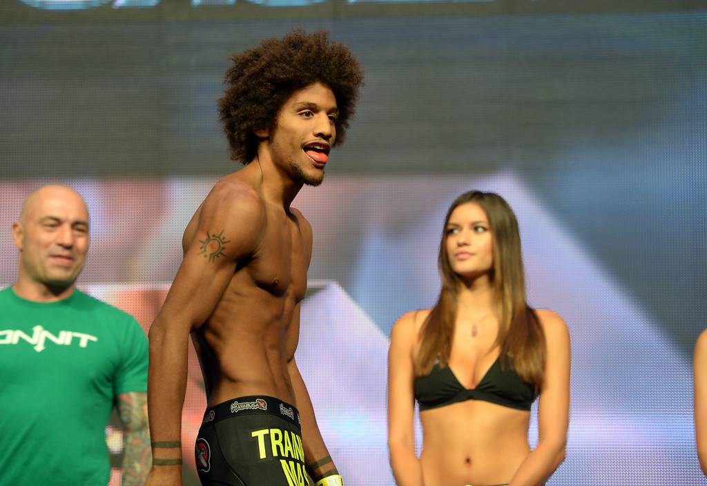 . Alex Caceres during weigh ins for UFC 175 at the Mandalay Bay Events Center July 4, 2014. (Photo by Hans Gutknecht/Los Angeles Daily News)