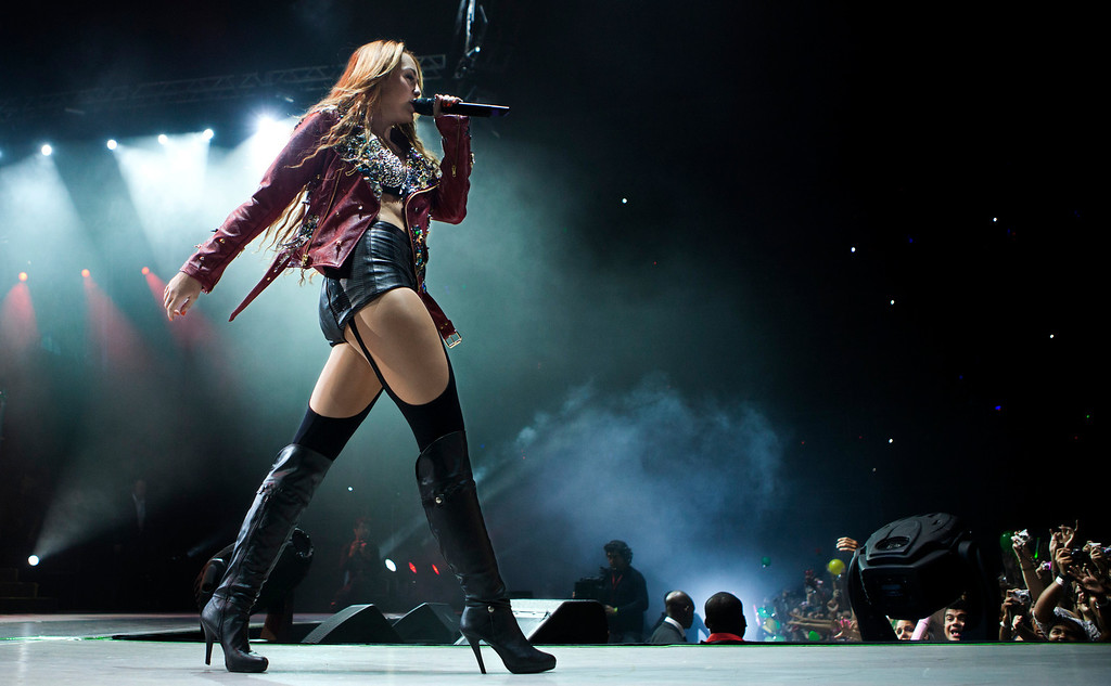 . Miley Cyrus performs during a concert in Rio de Janeiro, Brazil, on Friday, May 13, 2011. (AP Photo/Victor R. Caivano)