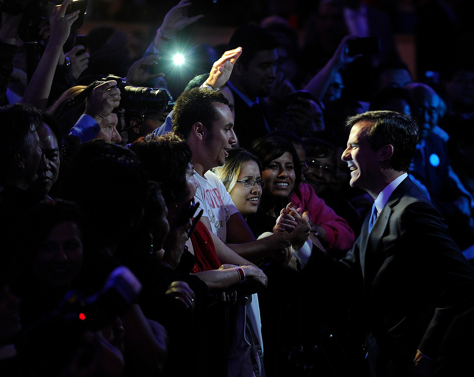 . Los Angeles Mayoral candidate Eric Garcetti shakes hands after his speech. Garcetti held his election night party at The Hollywood Palladium where supporters showed hear him speak. Hollywood, CA 5/22/2013(John McCoy/LA Daily News)