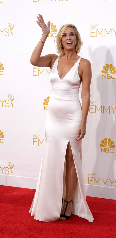 . Kristen Wiig on the red carpet at the 66th Primetime Emmy Awards show at the Nokia Theatre in Los Angeles, California on Monday August 25, 2014. (Photo by John McCoy / Los Angeles Daily News)
