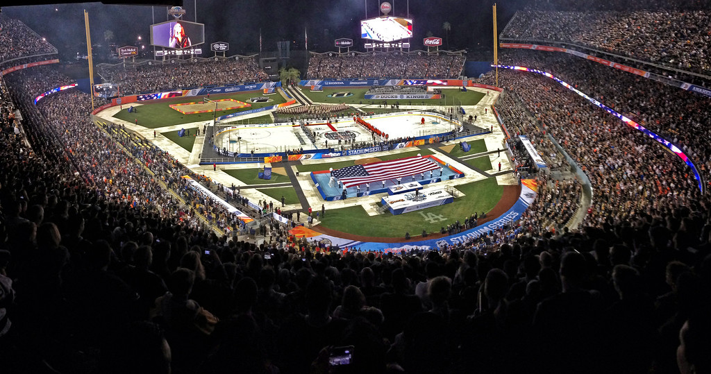 . The 2014 NHL Stadium Series featuring the Los Angeles Kings taking on the Anaheim Ducks at Dodger Stadium January 25, 2014. (Photo by Hans Gutknecht/Los Angeles Daily News)