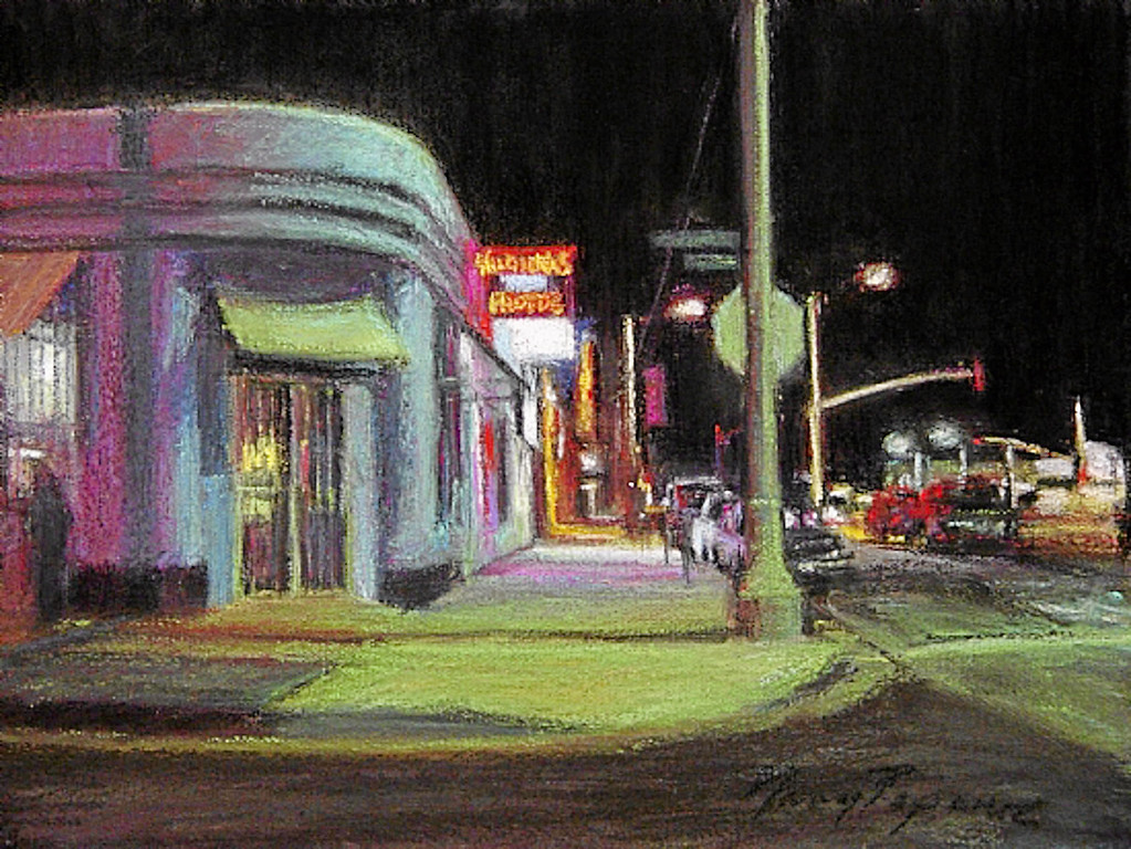 ". ""Velvet-Night\"" by Los Angeles pastel artist Nancy Popenoe.  Popenoe gets her inspiration from the streets and night scenes around her Los Angeles neighborhood.  Photo by David Crane/Los Angeles Daily News"
