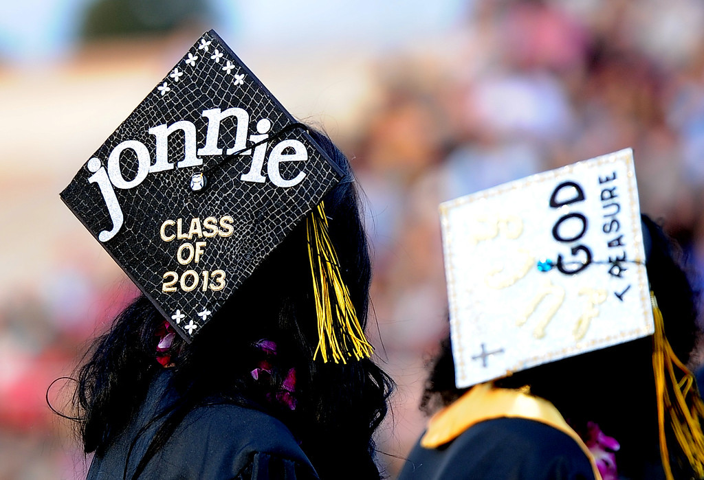 . One of the many decorated hats during the Northview High School commencement at Covina District Field on Tuesday, June 11, 2013 in Covina, Calif.