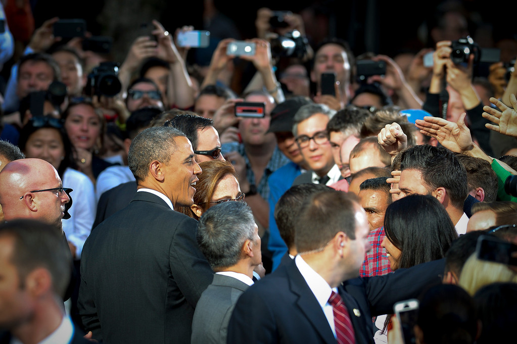 . President Barack Obama greets employees at DreamWorks studios in Glendale Tuesday, November 26, 2013.  In the speech Obama talked about jobs and Obamacare.  (Photo by David Crane/Los Angeles Daily News.)
