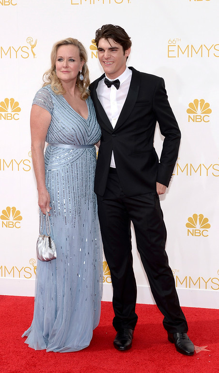 . Dyna Mitte and RJ Mitte on the red carpet at the 66th Primetime Emmy Awards show at the Nokia Theatre in Los Angeles, California on Monday August 25, 2014. (Photo by John McCoy / Los Angeles Daily News)