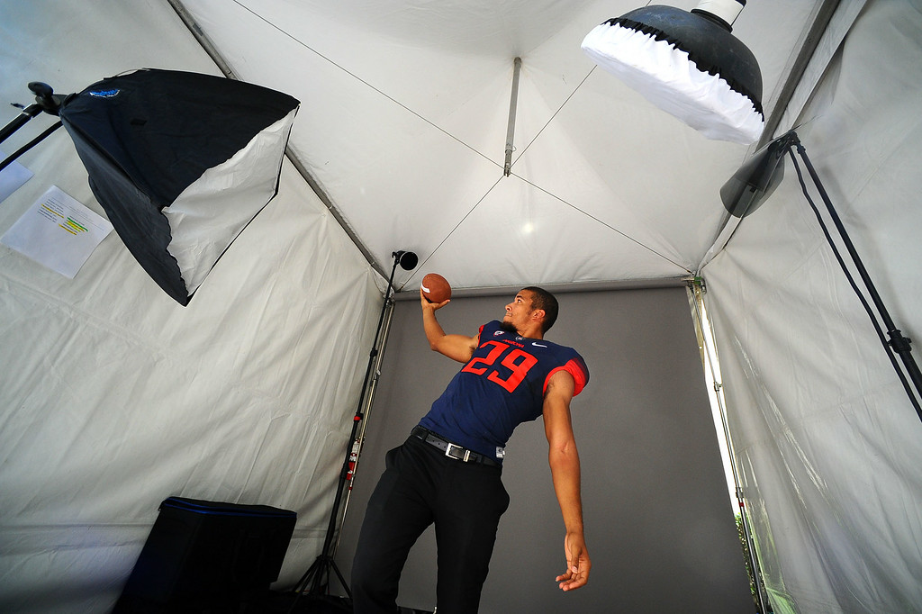 . Arizona wide receiver Austin Hill poses for photographs during the PAC-12 Football Media Day at the Paramount Theater in Los Angeles, Ca July 23, 2014.(Andy Holzman/Los Angeles Daily News)