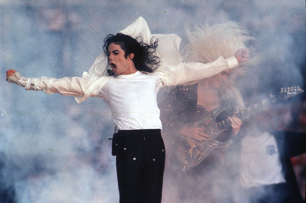 . This Feb. 1, 1993 file photo shows Pop superstar Michael Jackson performing during the halftime show at the Super Bowl in Pasadena, Calif.  (AP Photo/Rusty Kennedy, file)