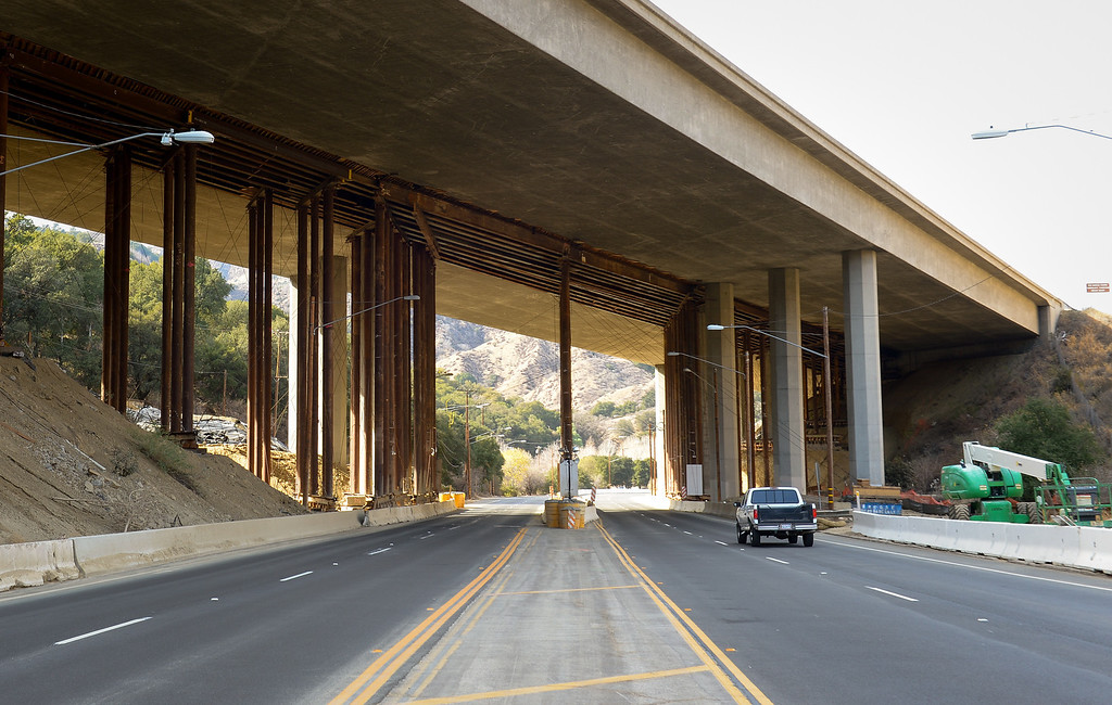 . Current view of the Golden State Freeway as it passes over The Old Road in Newhall. (Photo by Michael Owen Baker/L.A. Daily News)