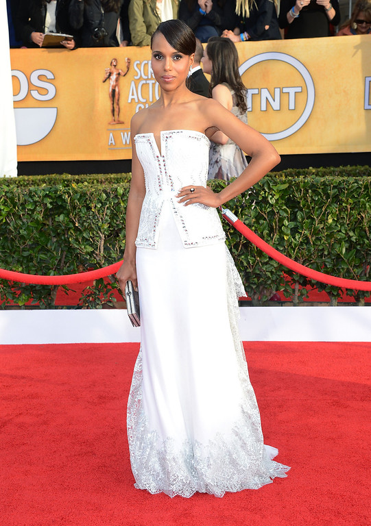 . LOS ANGELES, CA - JANUARY 27:  Actress Kerry Washington attends the 19th Annual Screen Actors Guild Awards at The Shrine Auditorium on January 27, 2013 in Los Angeles, California.  (Photo by Jason Kempin/Getty Images)