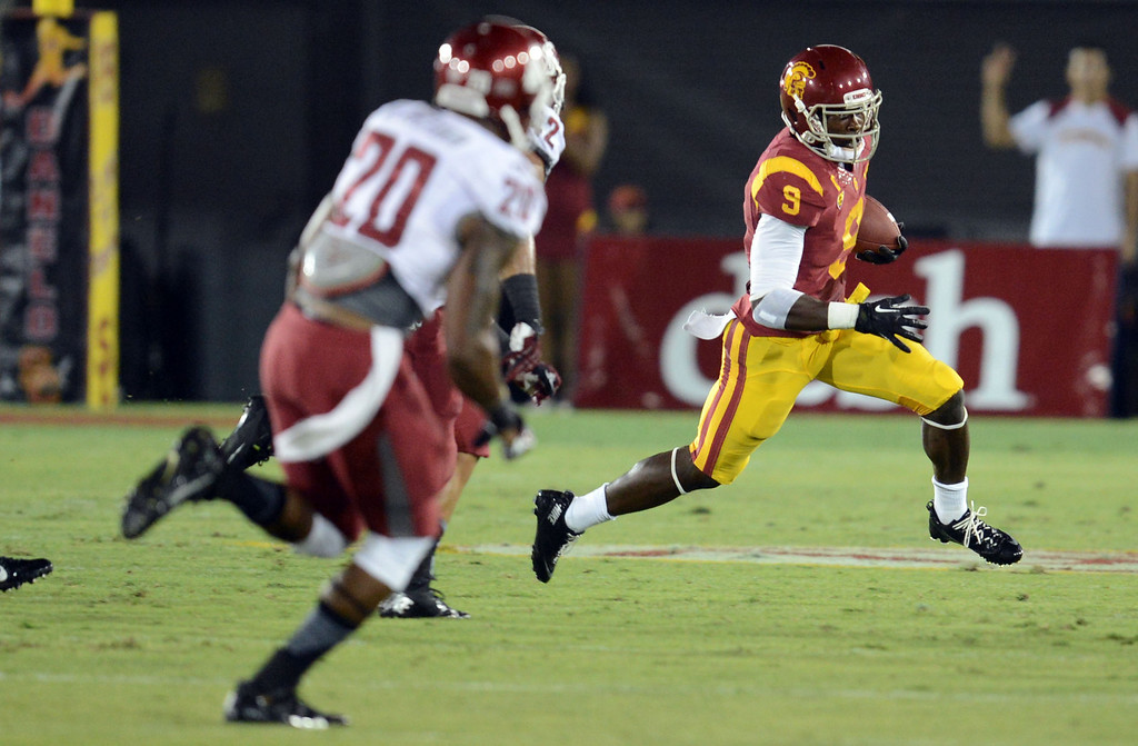. USC\'s Marqise Lee #9 runs up field during their game against Washington State at the Los Angeles Memorial Coliseum  Saturday, September 7, 2013.  (Photo by Hans Gutknecht/Los Angeles Daily News)