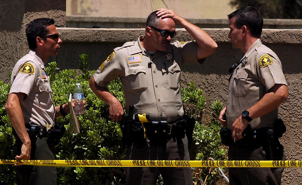 ". A San Bernardino County Sheriff\'s deputy is in the hospital after being ""brazenly ambushed\"" and shot Tuesday morning on East Date Street near Del Rosa Avenue, authorities say. Rick Sforza staff photo The Sun. (Staff photo by Rick Sforza)"