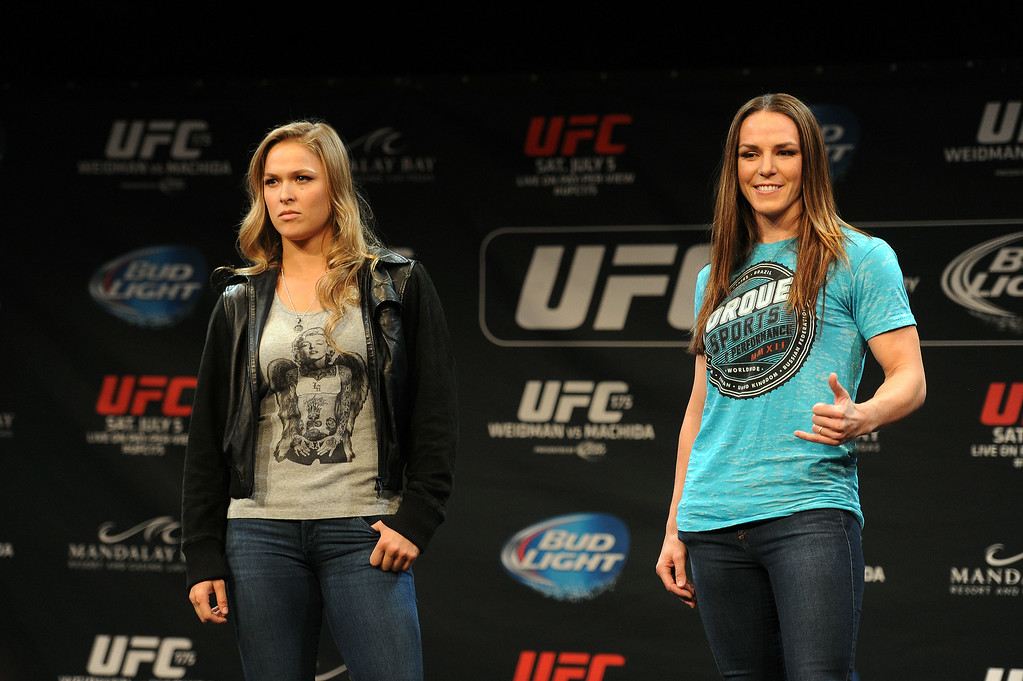 . UFC Women\'s Bantamweight Champion Ronda Rousey and challenger Alexis Davis during Ultimate Media Day at the Mandalay Bay Events Center Thursday, July 3, 2014. (Photo by Hans Gutknecht/Los Angeles Daily News)