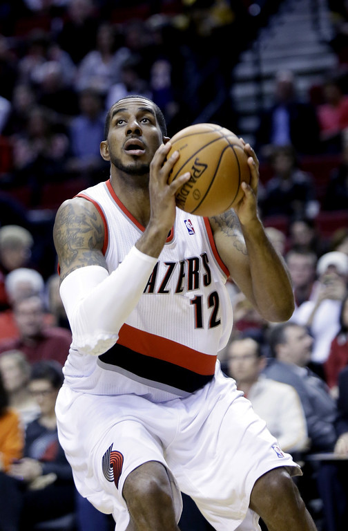 . Portland Trail Blazers forward LaMarcus Aldridge is shown during the second half of an NBA basketball game against the Los Angeles Lakers in Portland, Ore., Monday, March 3, 2014.(AP Photo/Don Ryan)