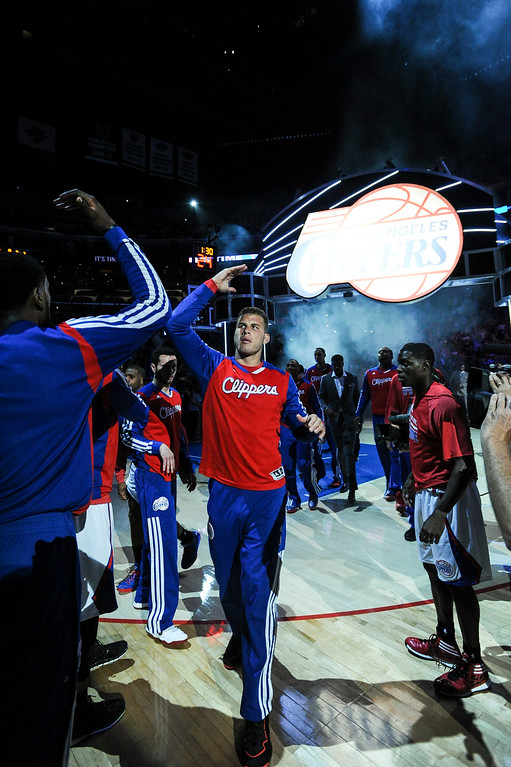 . Clippers� Blake Griffin takes the floor for game 5 of the NBA playoff series at Staples Center Tuesday.  ( Photo by John McCoy/Los Angeles Daily News )