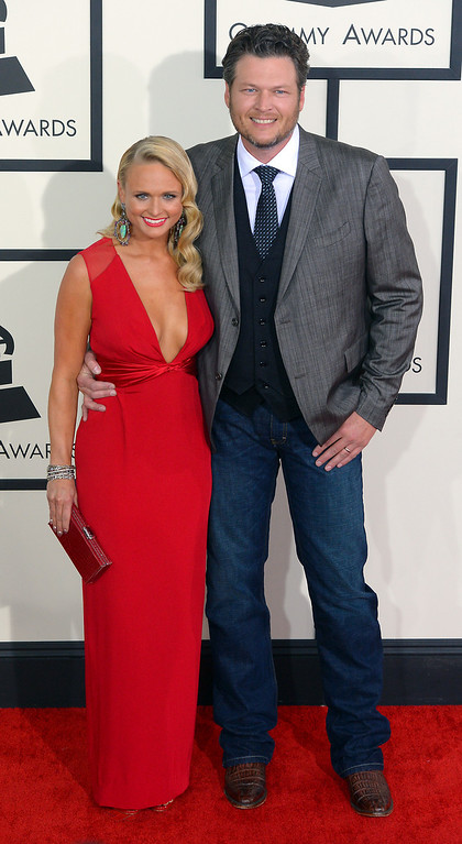 . Miranda Lambert and Blake Shelton arrive at the 56th Annual GRAMMY Awards at Staples Center in Los Angeles, California on Sunday January 26, 2014 (Photo by David Crane / Los Angeles Daily News)