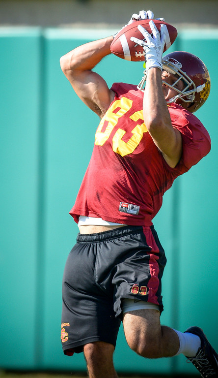 . USC�s George Katrib pulls a pass during spring practice at USC Tuesday, April 15, 2014.  (Photo by David Crane/Los Angeles Daily News.)