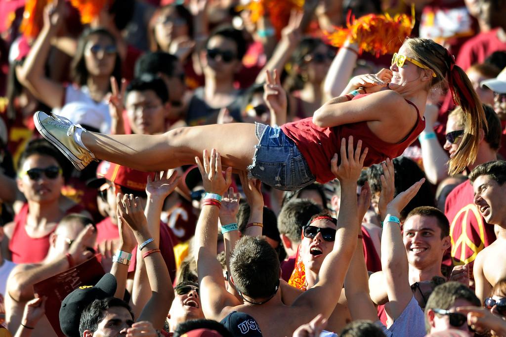 . USC students celebrate a touchdown against Hawaii. (9/1/12) (Michael Owen Baker/L.A. Daily News)
