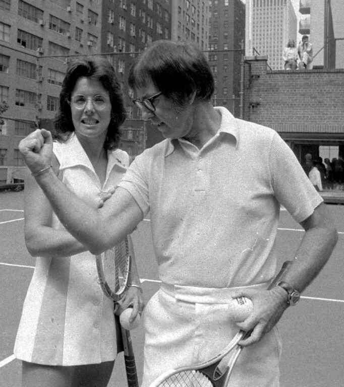 . Bobby Riggs poses for Billie Jean King in this undated handout photo.  (AP Photo)