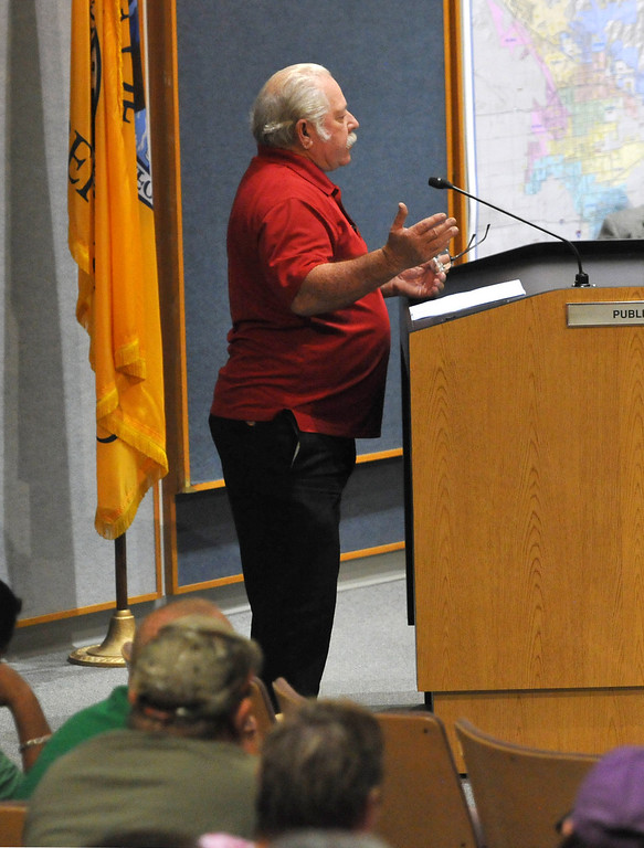 . (John Valenzuela/ Staff Photographer) San Bernardino City Council 7th ward candidate Paul Sanborn talks to the council about not outsourcing fire services in San Bernardino to save money.