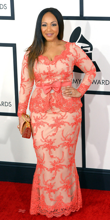 . Erica Campbell arrives at the 56th Annual GRAMMY Awards at Staples Center in Los Angeles, California on Sunday January 26, 2014 (Photo by David Crane / Los Angeles Daily News)