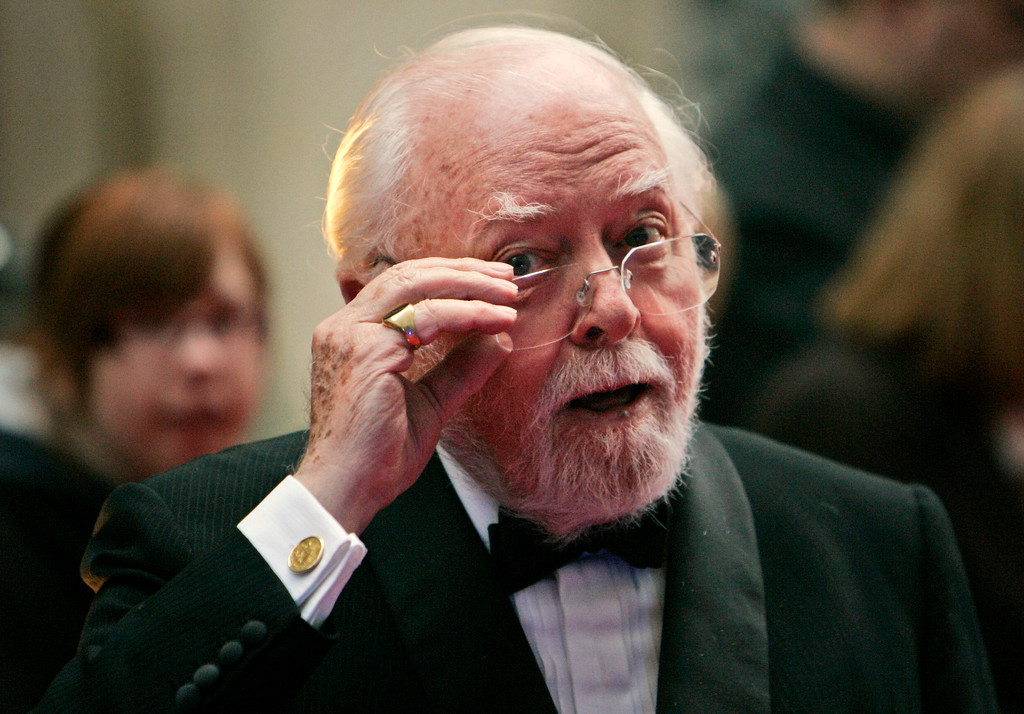 . In this Wednesday, April 9, 2008 file photo, British actor and director Richard Attenborough arrives at the Galaxy British Book Awards in London. Acclaimed actor and Oscar-winning director Richard Attenborough, whose film career on both sides of the camera spanned 60 years, died on Sunday, Aug. 24, 2014. He was 90. http://bit.ly/1AOzZ8g (AP Photo/Lefteris Pitarakis, File)