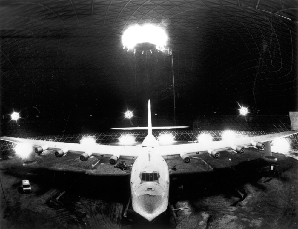 . Crowned with a halo of light, the Hughes Flying Boat opened in Spring 1983.   Los Angeles Daily News file photo