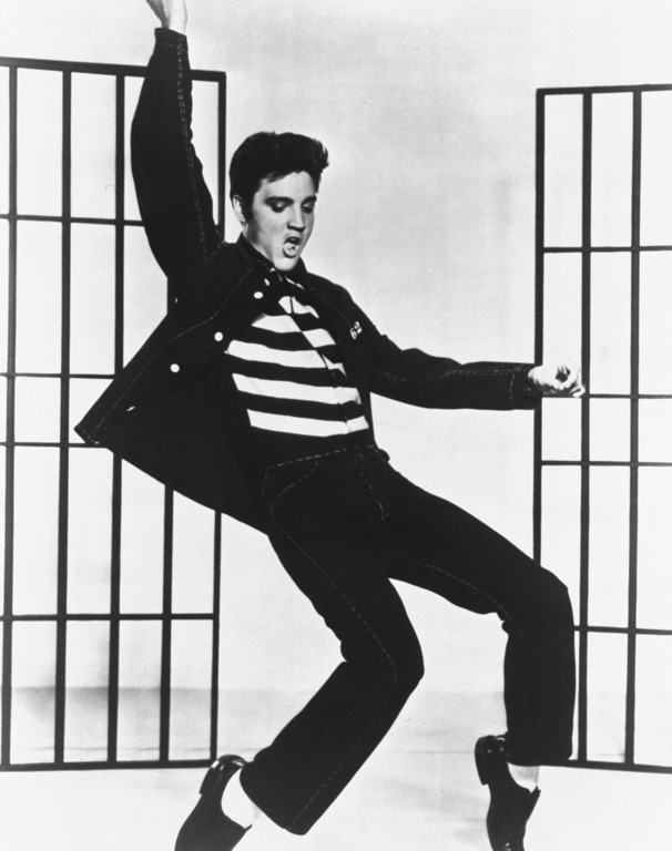 ". This is a photo from the 1957 film ""Jailhouse Rock\"" in which Elvis Presley plays a convict who becomes a rock star.  (AP Photo)"