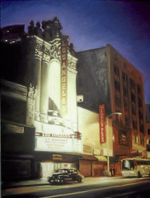 ". ""Los Angeles Theater\""  by Los Angeles pastel artist Nancy Popenoe.  Popenoe gets her inspiration from the streets and night scenes around her Los Angeles neighborhood.  Photo by David Crane/Los Angeles Daily News"