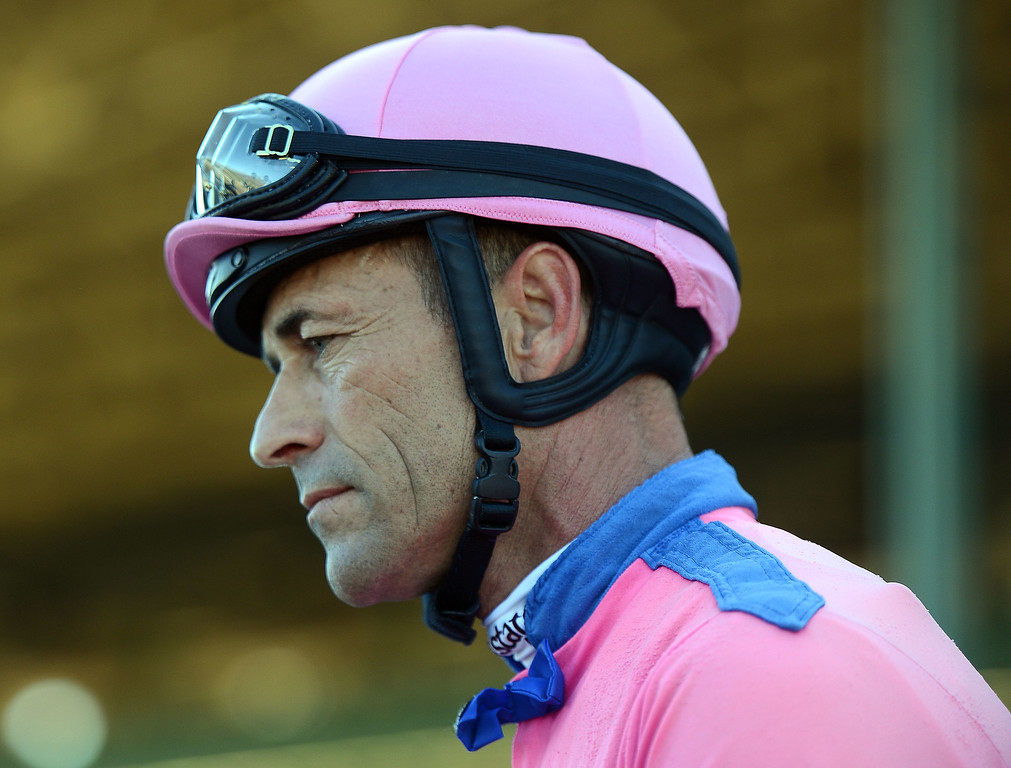 ". Jockey Joel Gary Stevens atop ""She\'s a Tiger\"" prior to the fourth race during the Breeders\' Cup at Santa Anita Park in Arcadia, Calif., on Saturday, Nov. 2, 2013.    (Keith Birmingham Pasadena Star-News)"