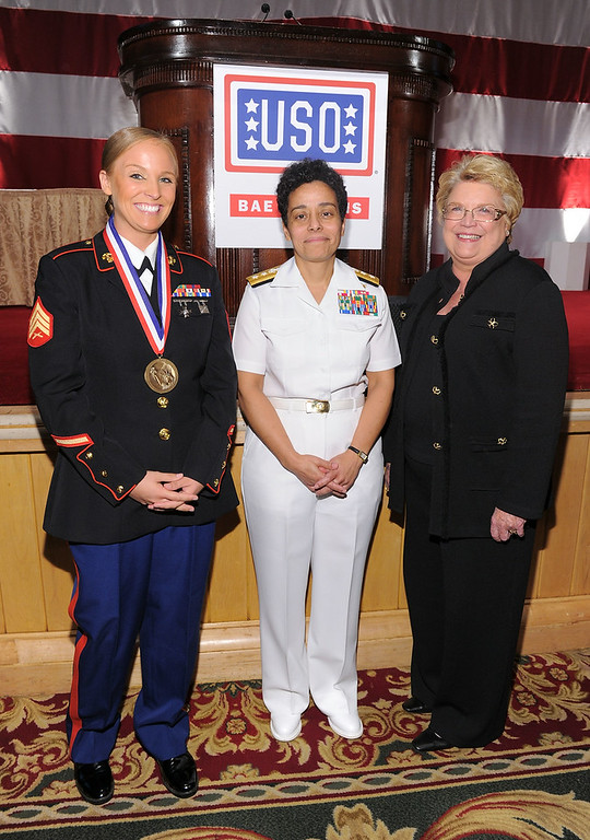 . (L-R) Sergeant Sara Bryant, Honorees Rear Admiral Michelle Howard and President and CEO BAE Systems Inc Linda Parker Hudson attend the USO 45th Annual Woman Of The Year Luncheon honoring Military Women and Women Business Leaders at the Grand Ballroom at The Waldorf=Astoria on April 26, 2011 in New York City.  (Photo by Mike Coppola/Getty Images for USO of Metro New York)