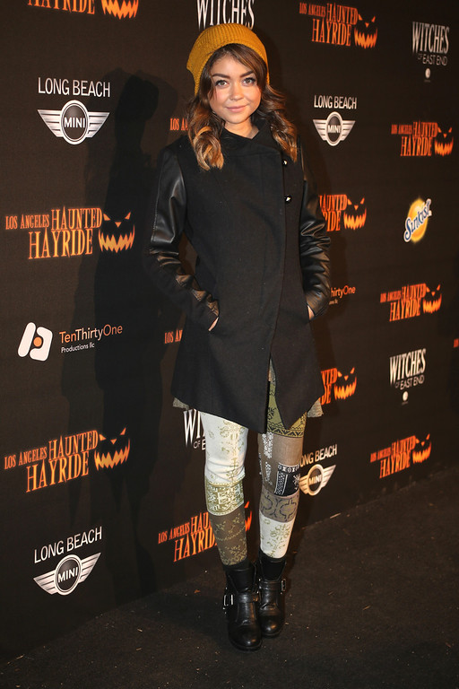 . Sarah Hyland at the 5th Annual Los Angeles Haunted Hayride Premiere Night on October 10, 2013.  The fifth year anniversary of the Los Angeles Haunted Hayride took Hayriders through scenes of actual hauntings.  The month-long event will once again take place in Griffith Park�s Old Zoo area, which has been home to murder, torture, paranormal activity, serial killers, and abduction. (Photos by Boris Issaei for the Los Angeles Daily News)