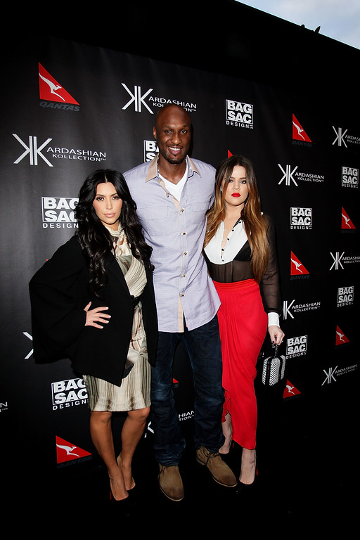 . Kim Kardashian, Khloe Kardashian Odom and Lamar Odom arrive at the Kardashian Kollection Handbag launch at Hugo\'s on November 2, 2011 in Sydney, Australia. (Photo by Lisa Maree Williams/Getty Images)