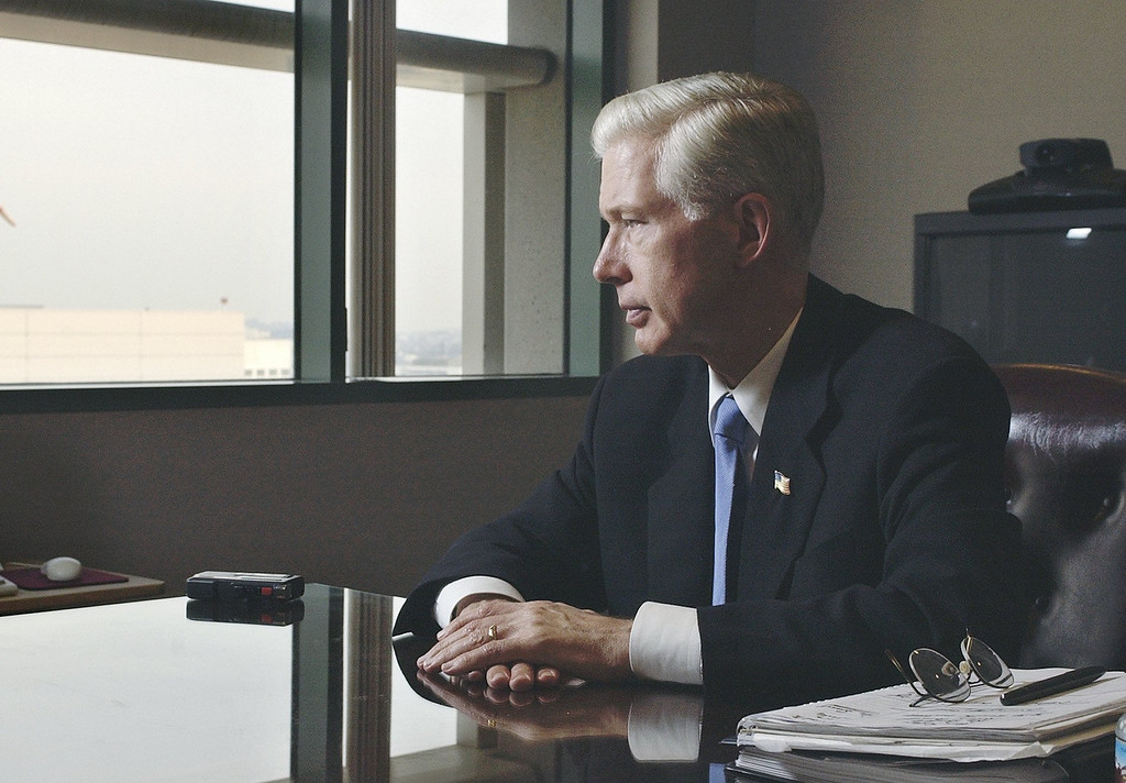 . Outgoing California Gov. Gray Davis listens to a question during an interview in his Los Angeles office, Wednesday, Nov. 5, 2003. As he reviewed his 30 years in public service, Davis also offered some clues as to where he\'ll go next. (AP Photo/Reed Saxon)