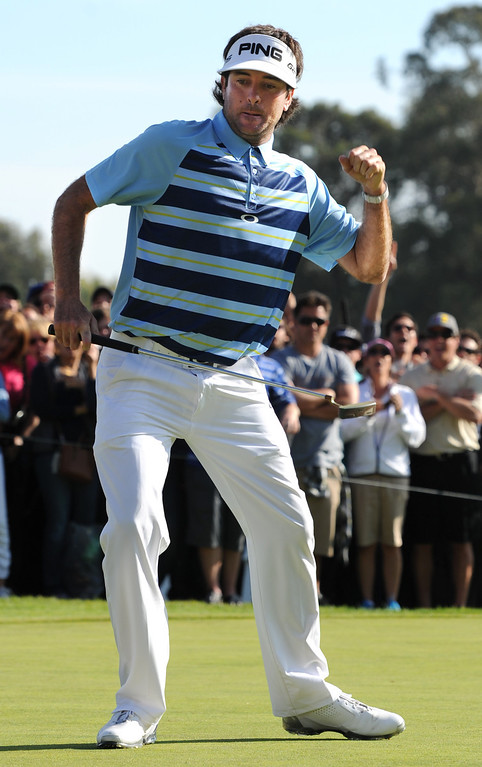 . Bubba Watson pumps his fist after making a birdie on 18. Watson won the 2014 Northern Trust Open with a score of 15 under par. Pacific Palisades, CA. February 16, 2014 (Photo by John McCoy / Los Angeles Daily News)