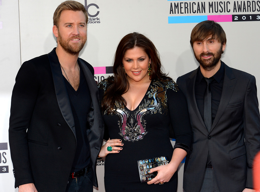 . Lady Antebellum arrives to the American Music Awards  at the Nokia Theatre in Los Angeles, California on Sunday November 24, 2013 (Photo by Andy Holzman / Los Angeles Daily News)