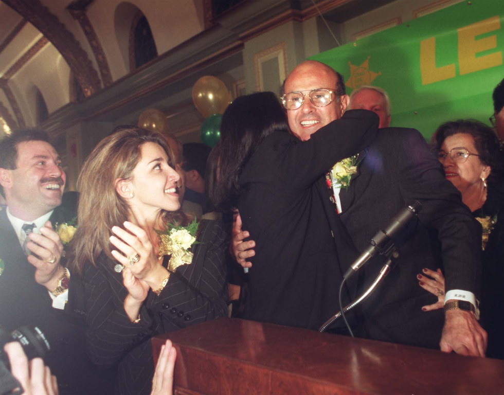 . Los Angeles County Sheriff-elect Lee Baca gets a hug from his sister, Elaine Baca-Wagner, at his victory party Tuesday in Pasadena. November 3, 1998  (Los Angeles Daily News file photo)