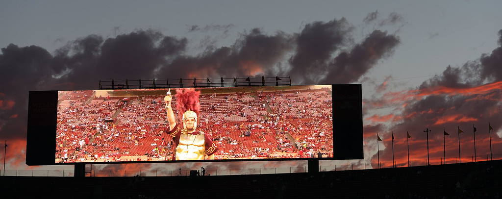 . Pre-game festivities on the big screen before the USC Trojans vs Washington State Cougars game at the Los Angeles Memorial Coliseum  Saturday, September 7, 2013. Washington State beat USC10-7. (Photo by Hans Gutknecht/Los Angeles Daily News)