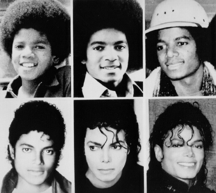 """. Jackson through the years. Michael Jackson, is shown top, from left: 1971; 1977; 1979, and bottom: 1983; 1987; and 1990. The reclusive pop-star, who debuted at age 5 with the Jackseon Five, has emerged from town years of professional dormancy with a new music video, \""""Black or White\"""". (AP-Photo)"""