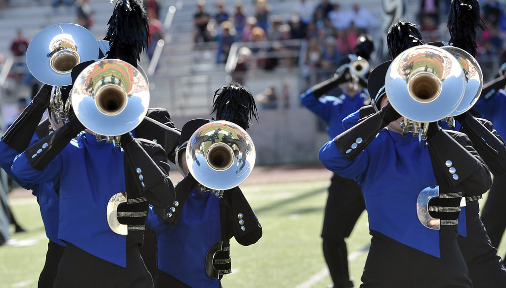 ". The Carmel High School ""Marching Greyhounds\"" from Carmel, Indiana performs during the 34th Annual Pasadena Tournament of Roses Bandfest at Pasadena City College on Monday December 30, 2013. (Staff Photo by Keith Durflinger/Pasadena Star-News)"